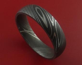 Damascus Steel Ring Acid Finish Genuine Craftsmanship Custom Made