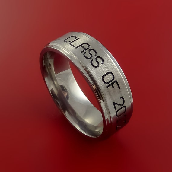 titanium unique personal message ring class ring band made to