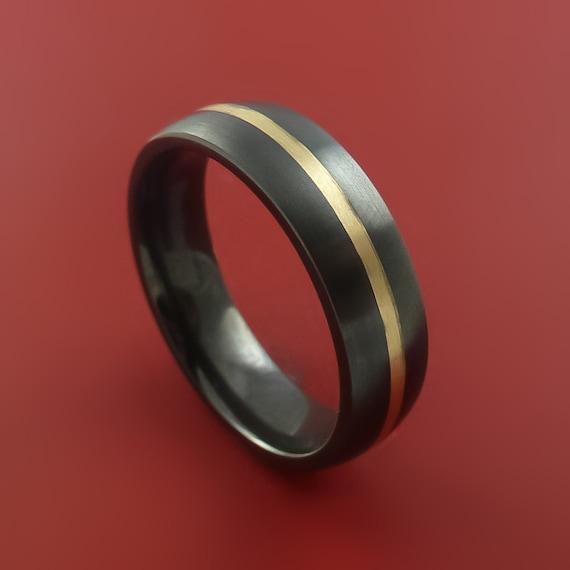 black zirconium and 14k yellow gold ring custom made band any