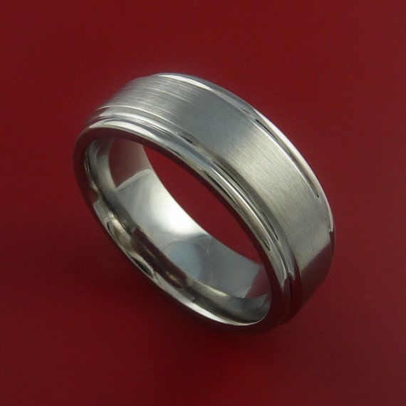 Titanium Wedding Band Engagement Ring CLASSIC  Made to Any Sizing and Finish 3-22