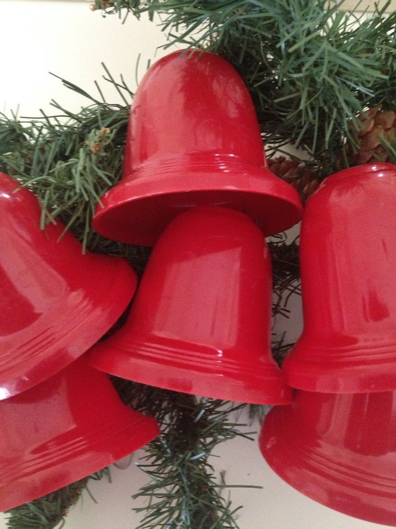Christmas 1960s 6 Vintage Red Plastic Bell Light Covers For