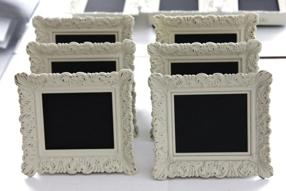 set of 10 mini vintage style frames ivory white place card. Black Bedroom Furniture Sets. Home Design Ideas