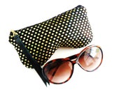 Curves Eyeglass Case, Sun Glass Case, Sunglasses Case, Zippered Eye Case , Eye Glass Pouch - Black/Gold Sparkle, Leather Pull
