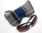 Curves Plaid/Check Eyeglass Case, Sunglasses Pouch, Sunglasses Case, Zippered Eye Pouch Navy/Burgundy/Beige