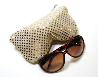 Curves Eyeglass Case, Sun Glass Case, Sunglasses Case, Zippered Eye Case , Eye Glass Pouch - White/Gold Sparkle, Leather Pull
