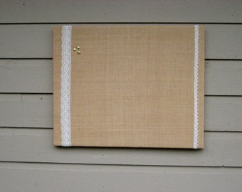 Linen and Lace Bulletin Board, Photo Memory Board for your Office, cabin, kitchen or Wedding decor