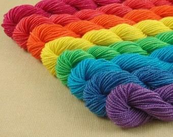 Mini Skeins Rainbow Silver Sparkle - Set of 8 - Hand Dyed Fingering Sock Weight Yarn - Superwash Merino Nylon Sparkle Blend Yarn