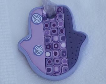 Small Hamsa (hand) wall hanging in purple, polymer clay, millefiori