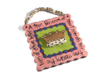 Ceramic Pink Princess Plaque with 22K Gold Crown