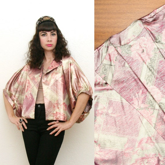Vintage 70s 90s Sparkly Floral Print Kimono Style Top/Jacket Small-Large