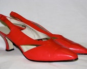 Vintage 1980s CORAL Leather Summer Shoes Heels by Apart