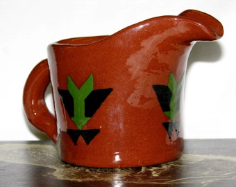 Vintage 1950s American Arts & Crafts CERAMIC Creamer with SOUTHWEST Theme