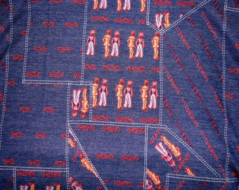 """Vintage 1970s FABRIC Remnant Denim Blue with People Cities  33"""" x 62"""" EUROPEAN"""