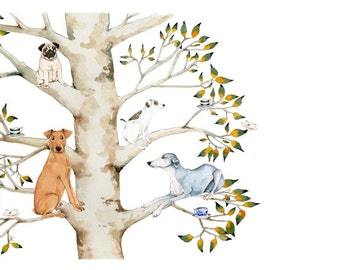 Dog print Giclee print dogs in tree with teacups 8x11 illustration