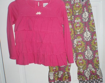 Custom Boutique 4t Pink and Gray Damask  Ruffle Pant Set