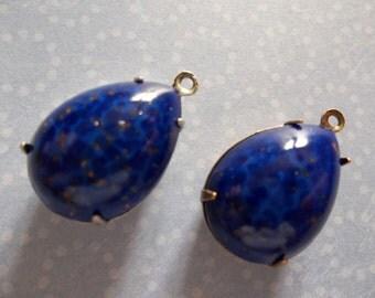 Opaque Lapis Lazuli Blue Czech Glass Pear Teardrop Gems in 18mm X 13mm Antiqued Brass Prong Settings - Qty 2