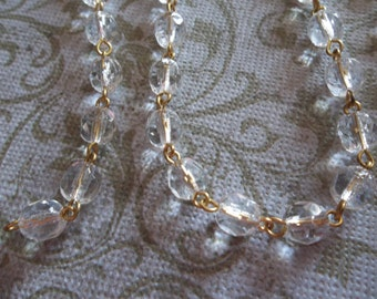 Transparent Clear Crystal 6mm Fire Polished Glass Beads on Gold Beaded Chain - Qty 18 Inch strand