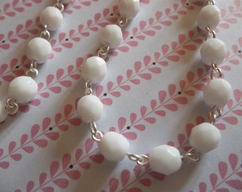 Opaque Chalk White 6mm Fire Polished Glass Beads on Silver Beaded Chain - Qty 18 Inch strand