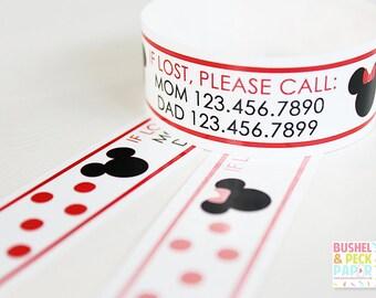 Custom Vinyl Polka Dot Mouse ID Bracelets - Personalized ID Bands - #Kids #Travel #Safety