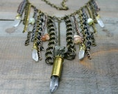 Layered Chain, Crystal Bullet and Stone Fringe Bib Statement Necklace - xVELVETx