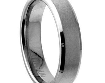 Titanium Wedding Band 5mm Width Satin & Polished Edges Design Size 5 6 7 8 9 10 11 12