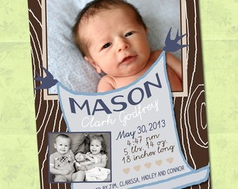 Print Yourself Baby Boy Announcement, Woodland, Modern Wood Grain, Nature, It's a Boy Photo Card 5x7 or 4x6