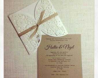 Vintage Rustic Wedding Invitation - Laser Cut invitation SAMPLE