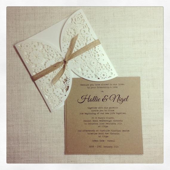 items similar to vintage rustic wedding invitation laser With rustic laser cut wedding invitations uk