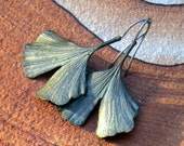 Simply Ginkgo - Cast Bronze Leaf with Sterling Silver Earrings