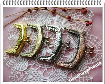 4piece-6.5cm(2.5inch) Slap embossed metal bag purse frame (4 colors) with sewing holes for purse bag pouch making