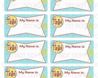 Printable DIY Retro Housewife Party Bridal Shower Name Badge Labels - Avery 6873 template