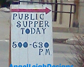 Public Supper Sign, Community, Maine, wooden sign