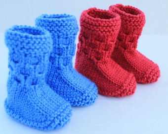 Instant Download Seamless Baby Booties PDF Pattern. Knitting Baby Pattern. Knit for Baby. Ugg Style Booties Pattern. Boy Girl Booties