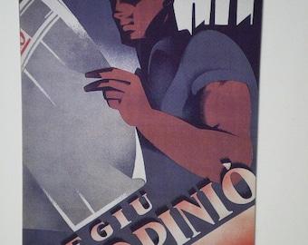 SPANISH CIVIL WAR poster postcard  'Read L'Opinion'  1936 Artist-Aluma'
