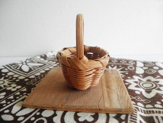 Vintage Miniature Cherokee Basket Authentic Qualla NC Native American Craft