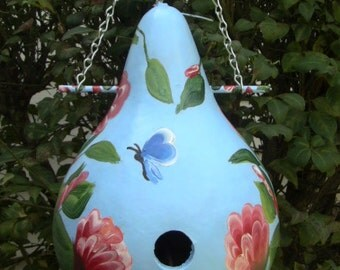 Awesome Baby Blue Birdhouse Gourd with Red Flowers and Vines