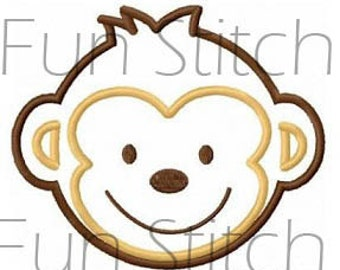 monkey applique machine embroidery design