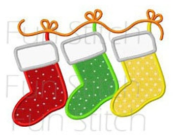 Christmas stockings applique machine embroidery design