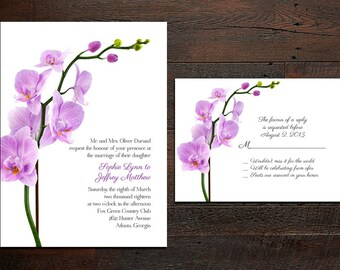 Orchid Wedding Invitation Set
