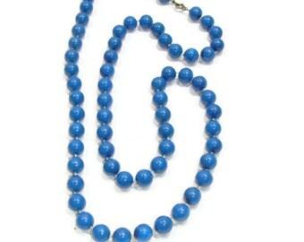 Vintage Blue Bead Necklace
