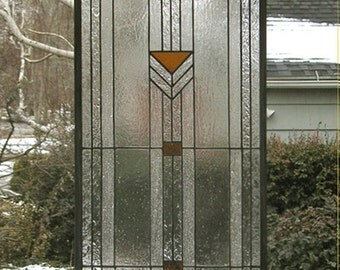 "Praire School Style-Sidelight--13"" x  44.5"" One Stained Glass Window Panel -"