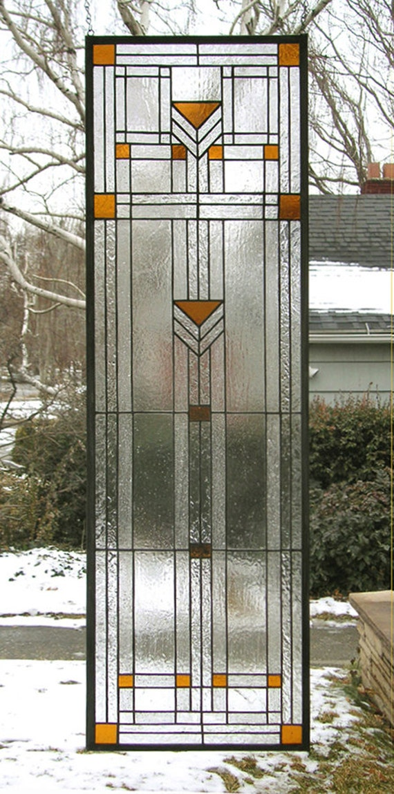 """Praire School Style-Sidelight--13"""" x  44.5"""" One Stained Glass Window Panel -"""