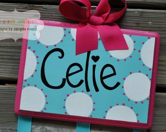 Bow Holder --- WHIMSICAL DOTTIE Design - Large - Handpainted and Personalized HairBow Holder