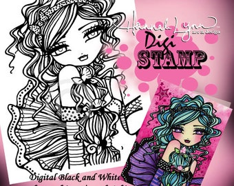 PRINTABLE Digi Stamp Mermaid Girl Fairy Princess Big Eye Coloring Page Fun Fantasy Art Hannah Lynn