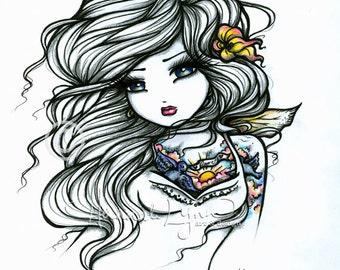 Bird Flower Map Tattoo Sketch Fairy Fantasy Art 8x10 Print Hannah Lynn