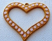 Pink Heart Pendant  -  Swarovski Pink Rose Alabaster Crystal set in Gold Tone Metal - Stylized Open Heart