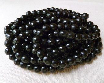 Black Peking Glass Beads - 7-8mm - Qty 10 pcs