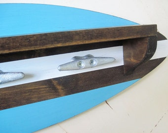 Turquoise Surfboard Shelf Coat Rack with Boat Cleat Hooks