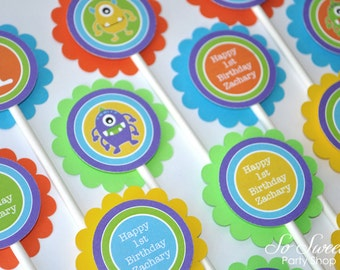 12 Monster Birthday Cupcake Toppers - Monsters Aliens - Personalized - Boys 1st Birthday Decorations