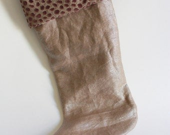 Christmas Stocking / Designer Holiday Stocking / Metallic Linen & Velvet